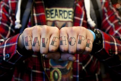 #havehope #knuckletattoo