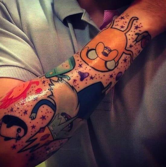Adventure Time tattoo sleeve by Ashleigh Argyle