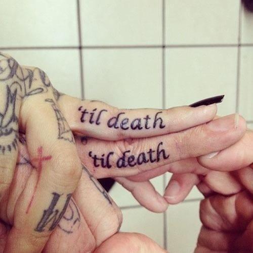 'Til death finger tattoos