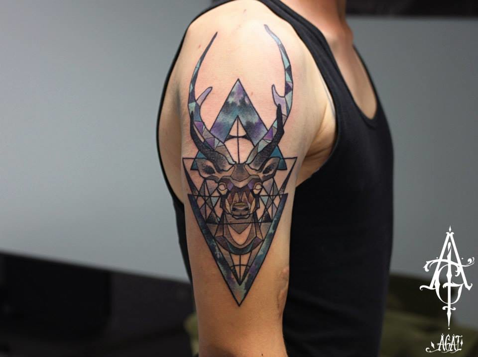 Geometric stag tattoo by Agat. #stag #deer #agat #geometric