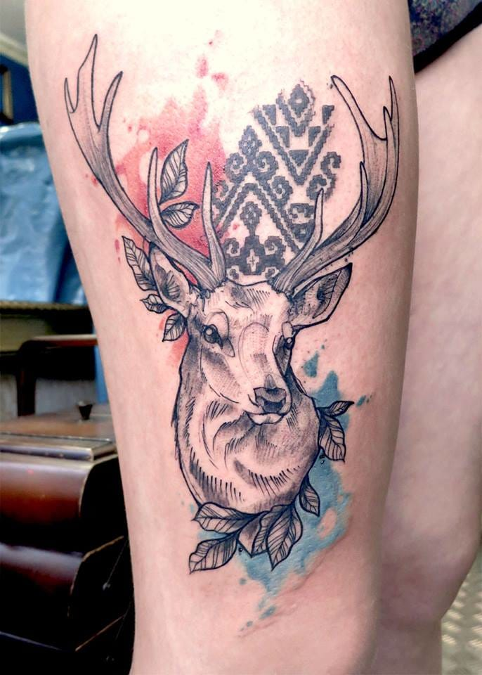 Lovely deer tattoo with watercolor touches by Anki Michler. #deer #stag #watercolor #AnkiMichler
