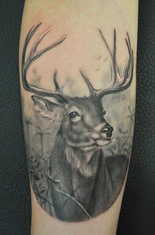 Black and grey realistic stag by Lalo Yunda #deer #stag #stagtattoo #deertattoo