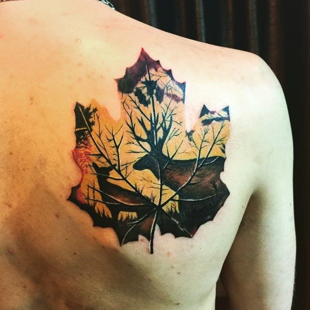 Stag and deer tattoo. Silhouettes Inside a dead leaf, a cool idea inked by Martin of Chronic Ink. #stag #deer #stagtattoo #deertattoo #silhouette #leaf #autumn #ChronicInk