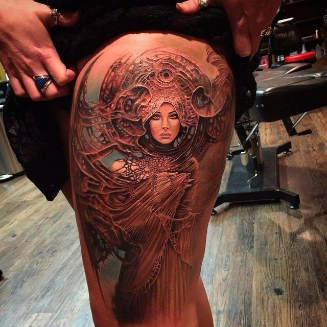 Amazing tattoo by Rember Orellana inspired by a painting of Karole Bak.