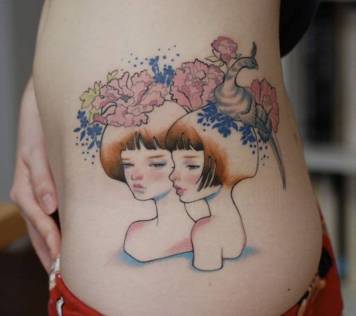 A tattoo by Zoey Taylor according an illustration by Audrey Kawasaki.