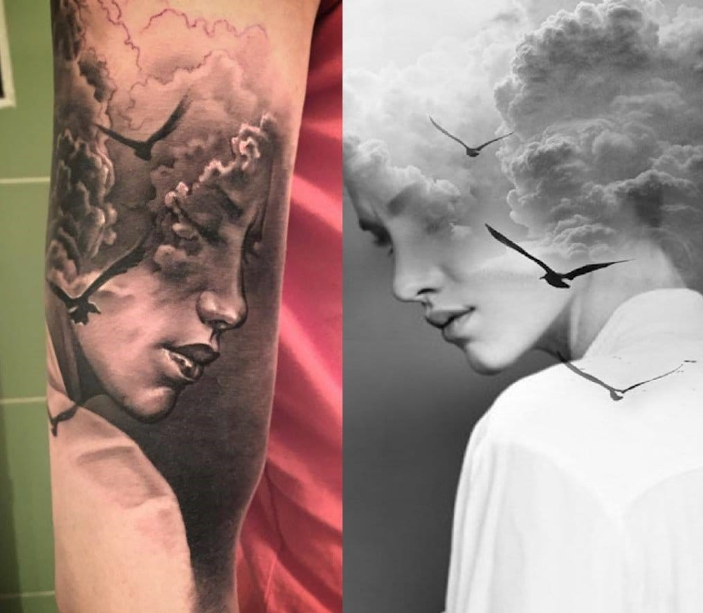 Left, a tattoo by Matkovski Calin. Right, the art of Antonio Mora.