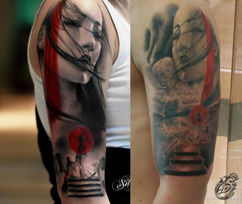 Left, an original tattoo by Silvano Fiato and right, a copycat.