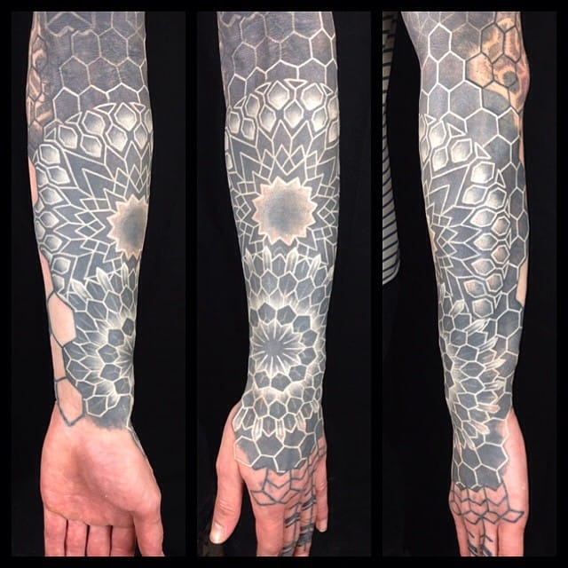 Color and White Ink Over Blackwork Tattoos