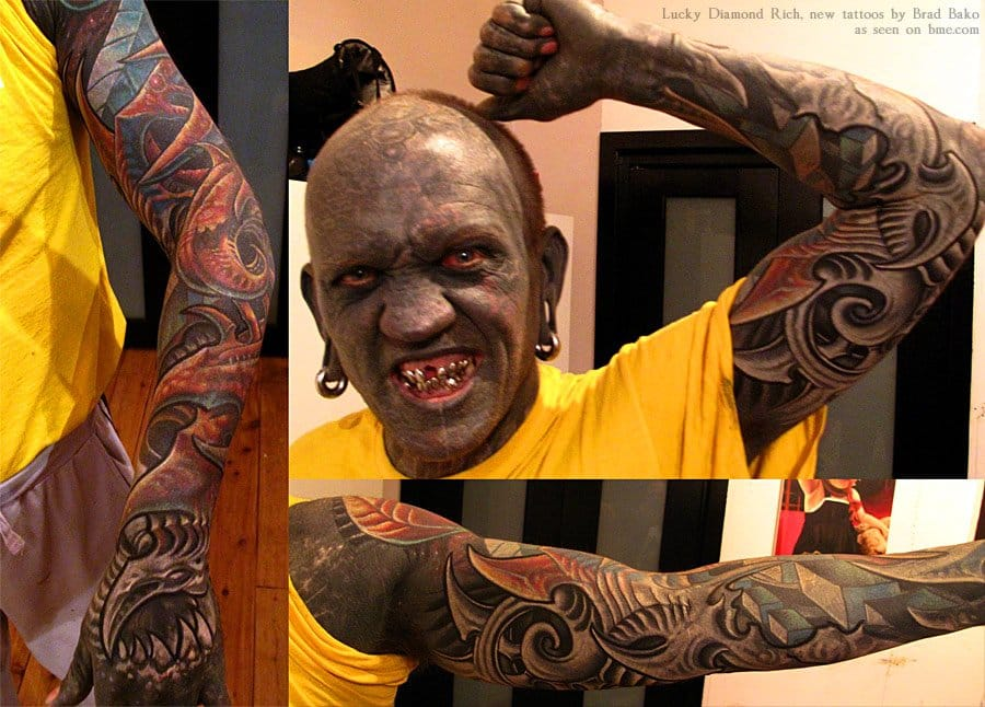 """He was previously known as the """"black man"""" for being fully covered with black ink. Lucky Diamond Rich decided he didn't ran out of space and get a biomech work over his blackwork by Brad Bako. When it seems over, it's not over yet!!!"""