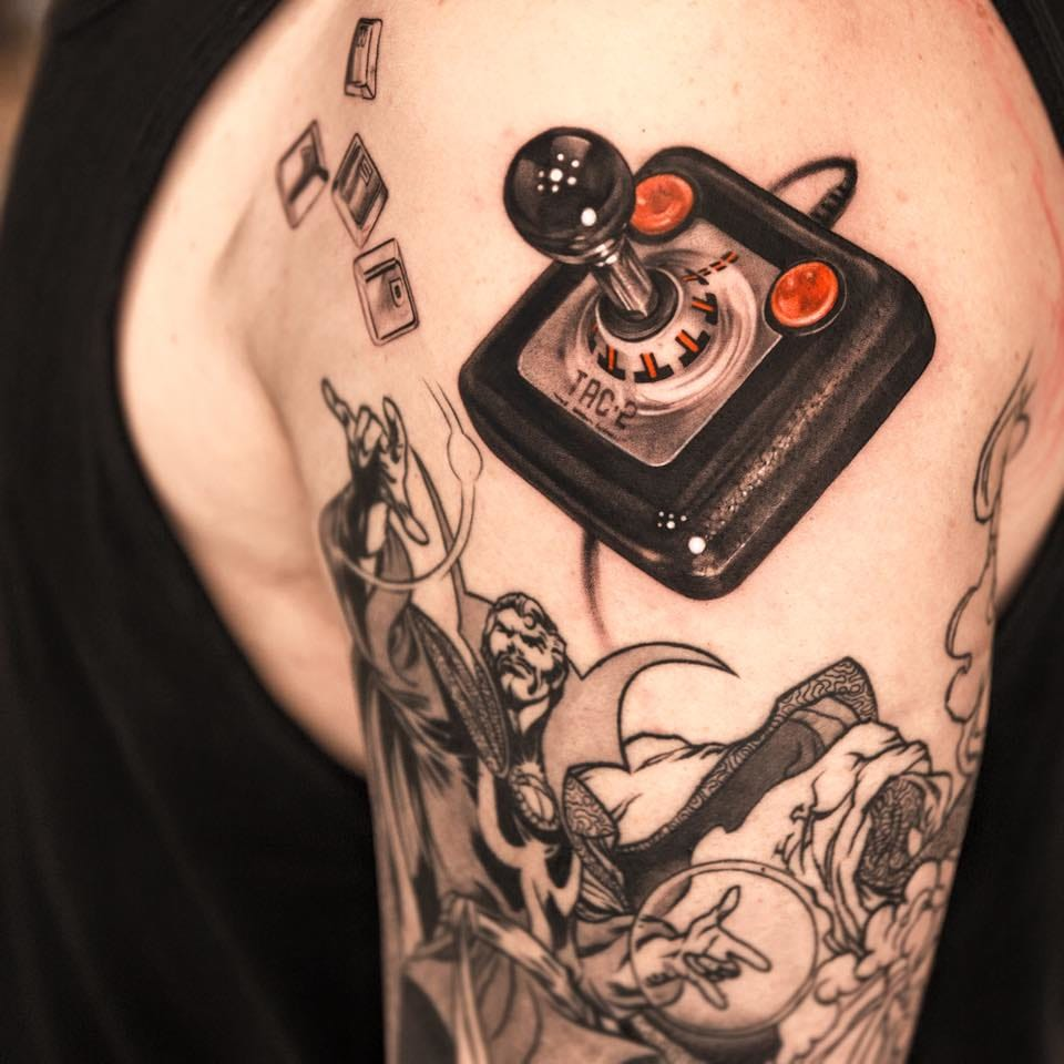 OMG! You could almost play with this vintage joystick tattoo by Niki Norberg!!!
