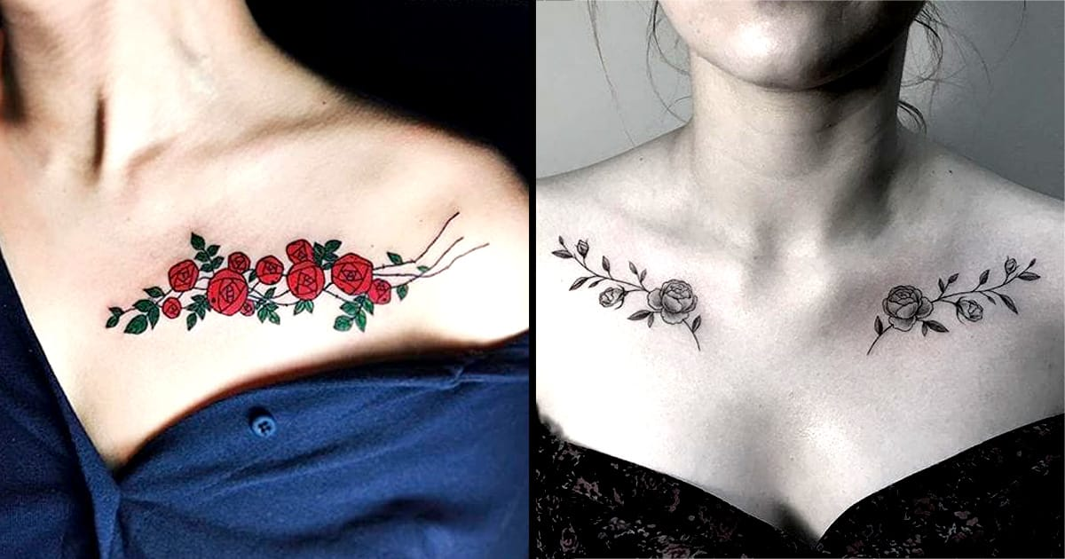 trace your lovely bones with these beautiful collarbone tattoos tattoodo. Black Bedroom Furniture Sets. Home Design Ideas