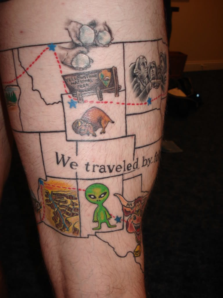 This cool road trip tattoo was done by Brian Beckwith at Mass Ink