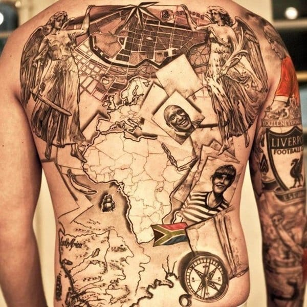 Incredible travel collage backpiece! Know the artist let us know!