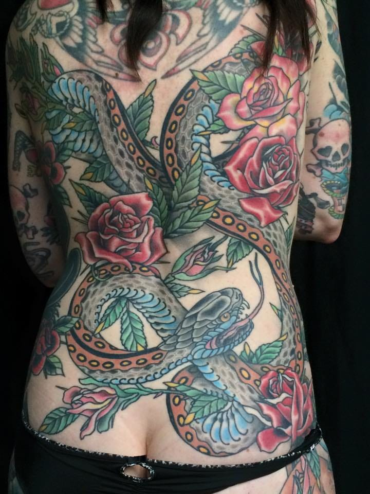 Great traditional backpiece by Jacob Redmond.