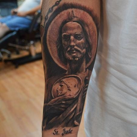 This incredible St. Jude tattoo was done by Ian Robert McKown