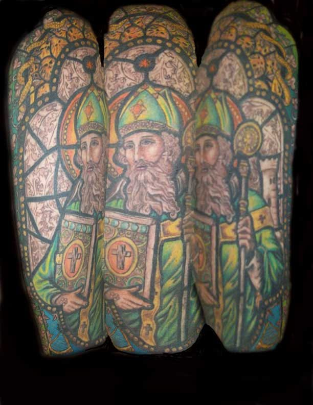 Brilliant stained glass St. Patrick ink by Jessica Morsey