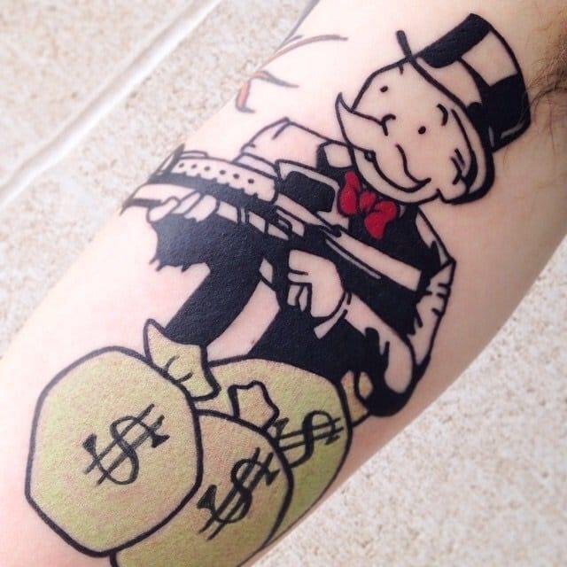 An alecmonopoly original, tattooed by Al Garcia