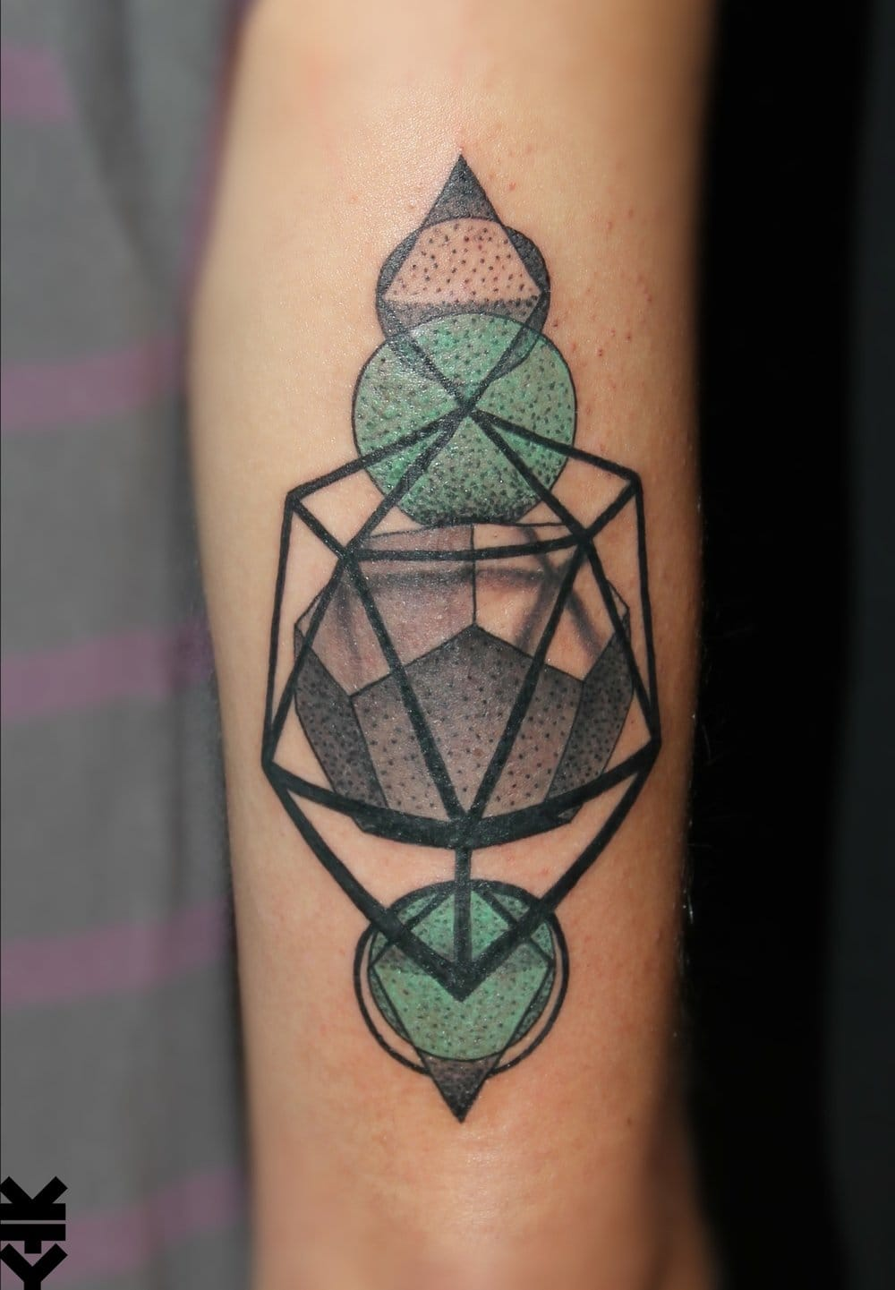 Cool dodecahedron tattoo by Kreatyves.
