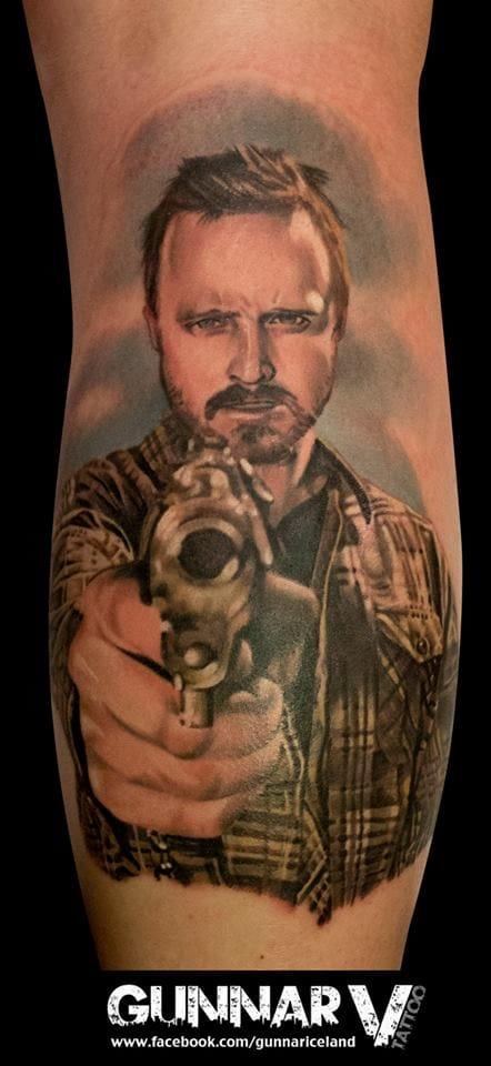 Gunnar V em uma tatuagem LINDA de Jesse Pinkman
