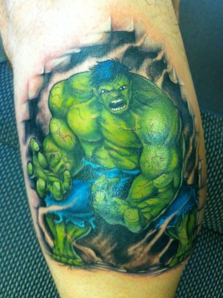 Bright and awesome hulk tattoo