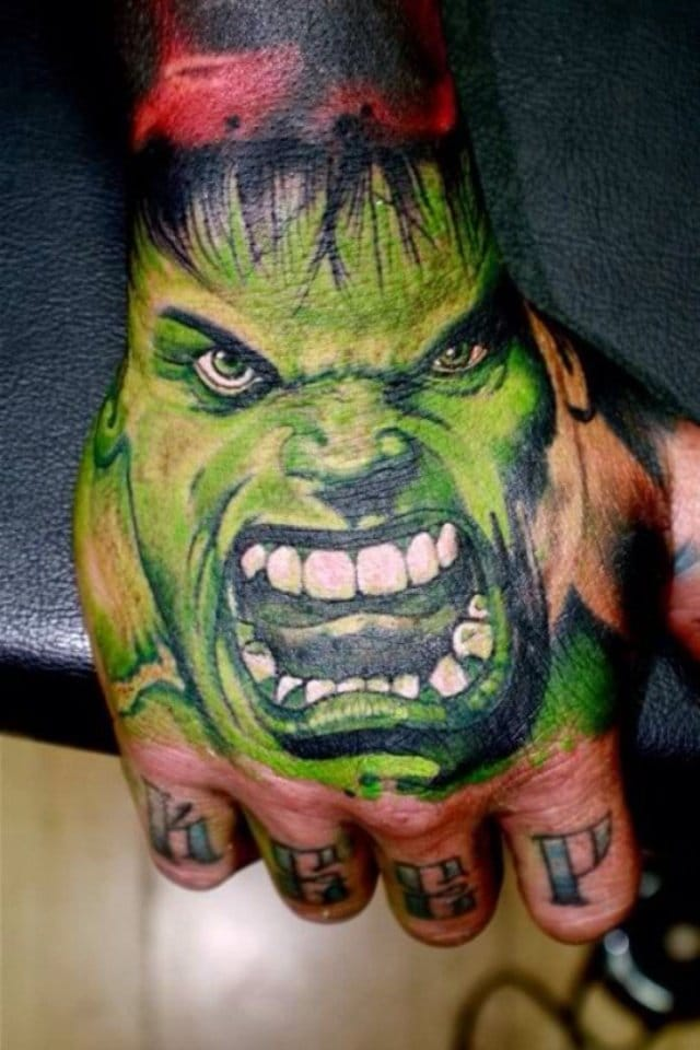 Crazy Hulk hand tattoo