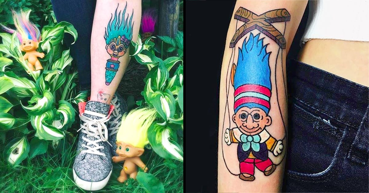 Cute vintage troll doll tattoos for every 90s kid tattoodo for 90s baby tattoos