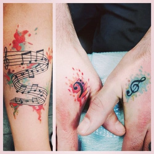 Music tattoos by Kelsey #musictattoo #musictattoos #watercolor
