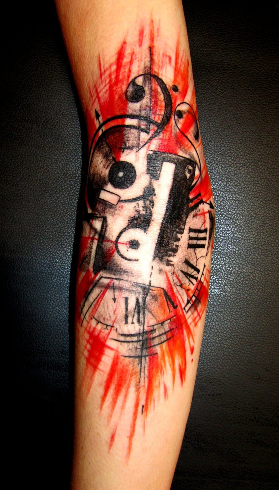 Explosive arm piece with mashup of music tattoos #musictattoo #music tattoos