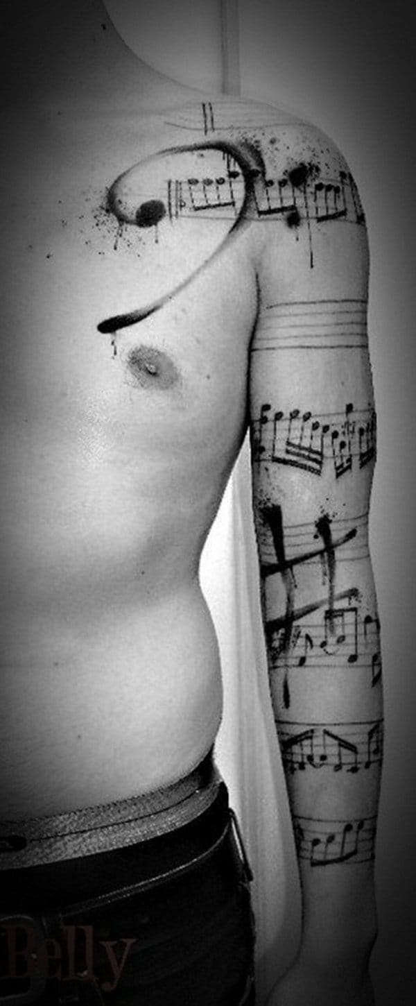 Wicked sleeve covered in music tattoos. This one's for the musician in heart and soul #sleeve #music #musictattoos