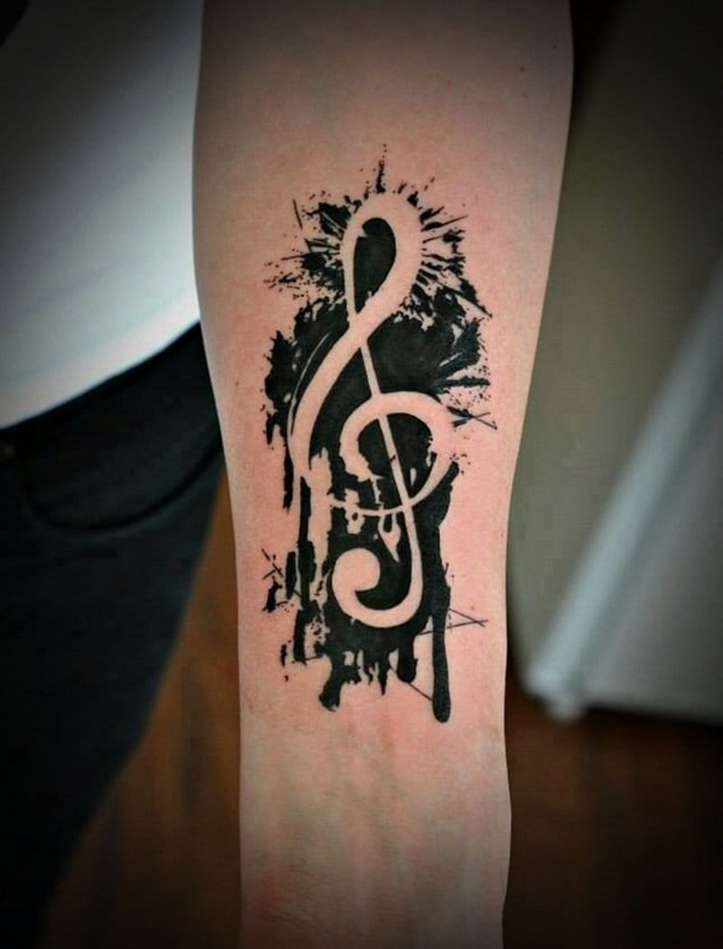 There's just something about paint dripping style that make tattoos stand out #trebleclef #gkey #music