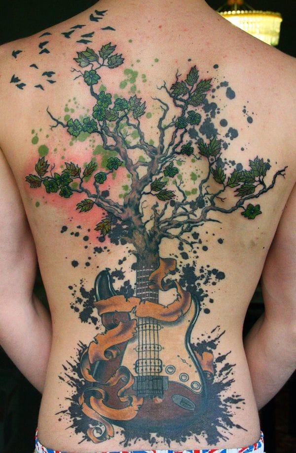 Guitar tattoo #guitar #music # musictattoo #electricguitar #backpiece