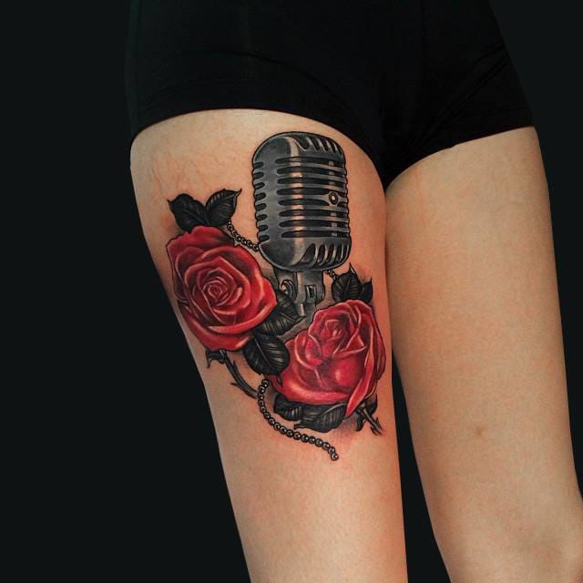 Music tattoo by Nick King #musictattoo #music #microphone #vintagemicrophone #rose