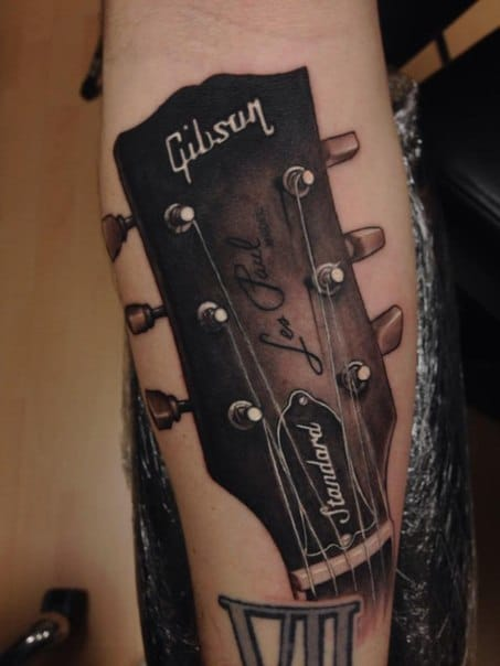 A gibson Les Paul tattoo. Unknown artist #music #gibson #lespaul #guitar