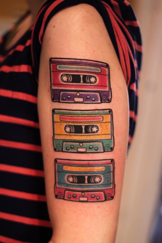 Retro music tattoo #musictattoo #musica #tape #tapes #retro  #casette