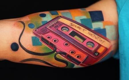 Retro music tattoo #tape #casette
