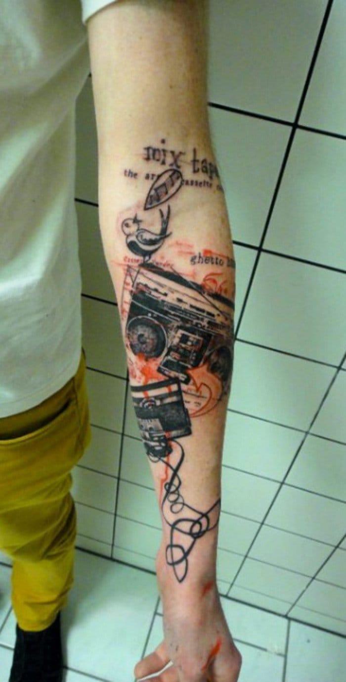 Music tattoos by XOIL #mixtape #casette #music #musictattoo #retro #Xoil #Xoiltattoos