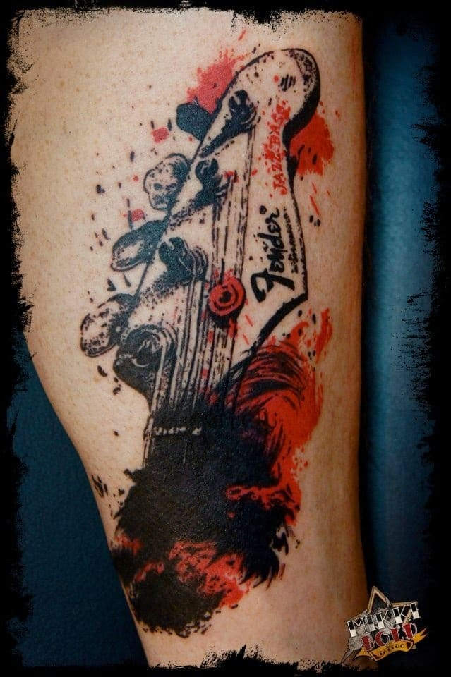 Guitar tattoo by Mikki Bold #Fender #Jazzbass #guitar #guitartattoo #musictattoo