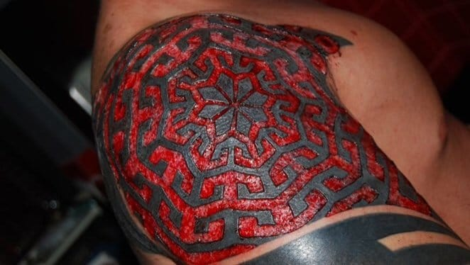 Crazy scarification. Scar performed by Lewis Dodd