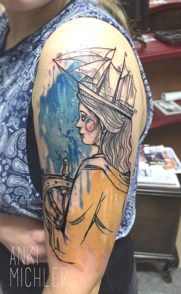 Poetic nautical tattoo.