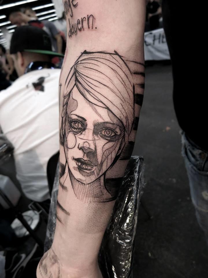 60s model Twiggy inspired tattoo.