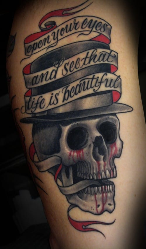 Open your eyes and see that life is beautiful, lettering tattoo