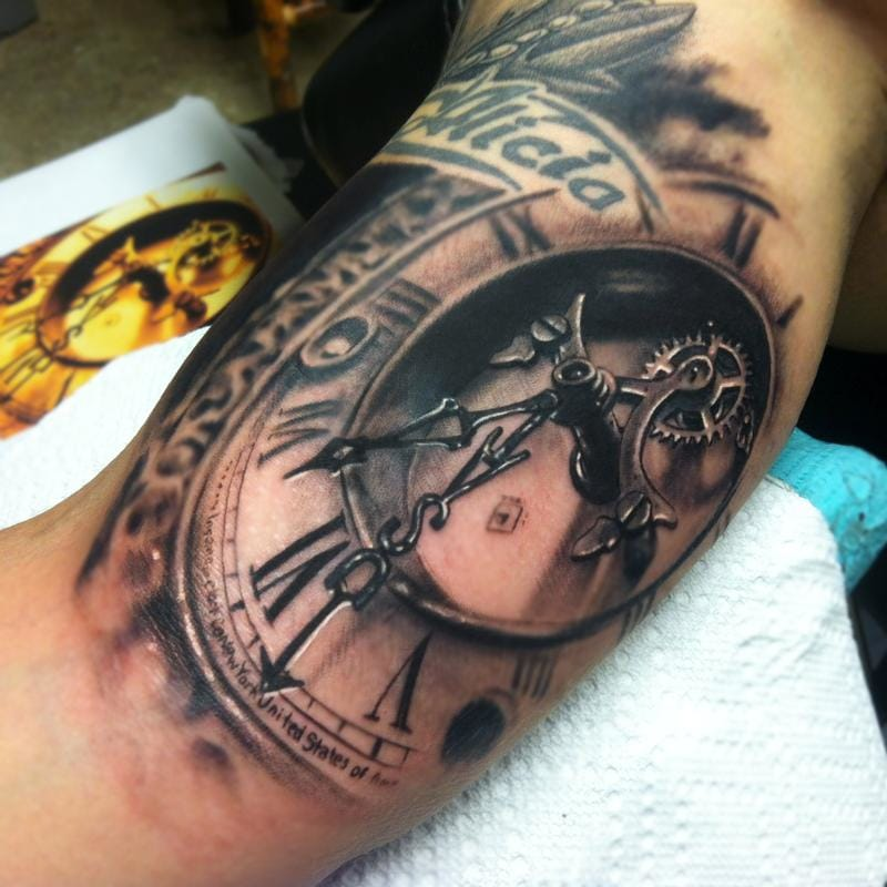 grandfather clock face tattoo. grandfather clock face tattoo g