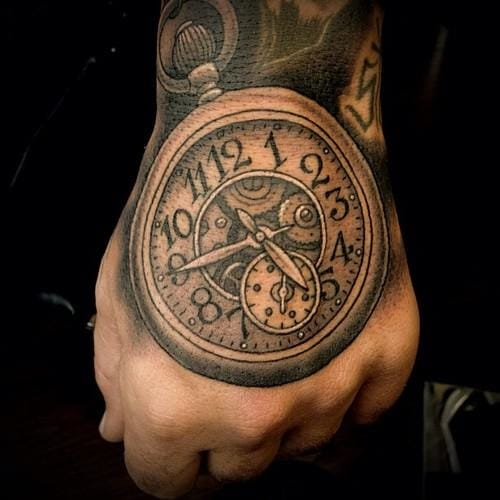 awesome-grey-clock-tattoo-on-hand