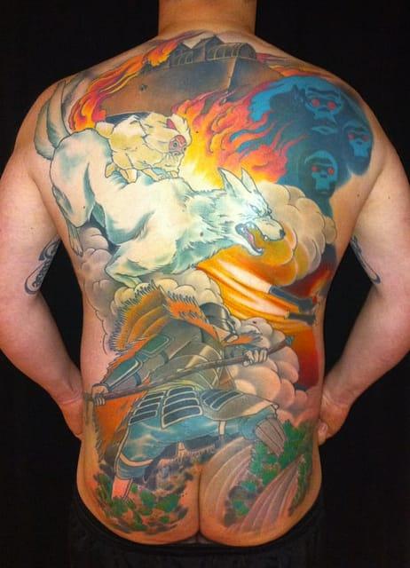 Epic backpiece by artist Kurt Von Hebsack. You can see San, but also Ashitaka and the gorillas.