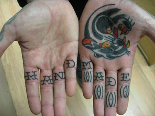 Hand Made letter tattoo on fingers