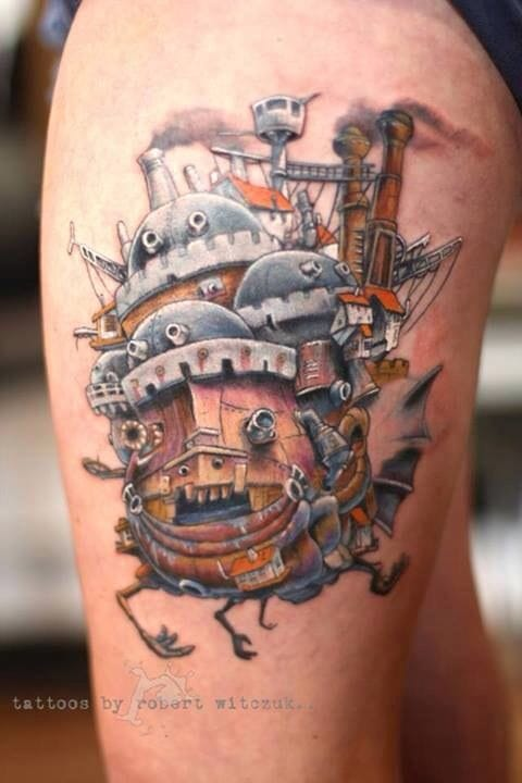This is the moving castle, which looks like a nice steampunk piece, by Robert Witczuk.