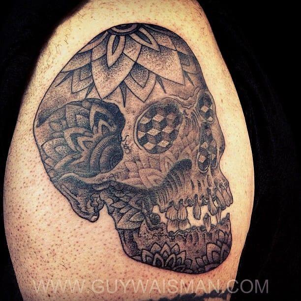 Anatomical 3/4 Stippled Mandala Skull - Guy Waisman