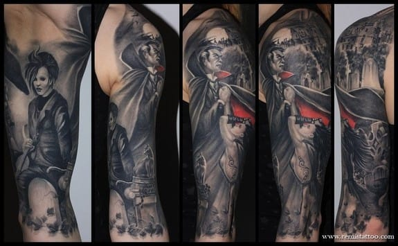 Awesome vampire sleeve by Remis Tattoo