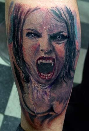 Scary and well done... the perfect vampire tattoo!