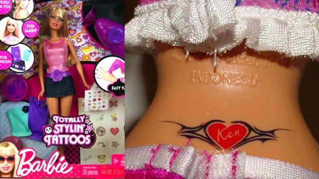barbie with a heart tattoo
